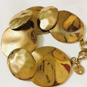 ANN TAYLOR LOFT GOLD TONE HAMMERED METAL BRACELET